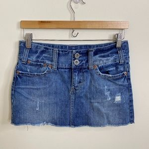 American Eagle Distressed Denim Mini Skirt